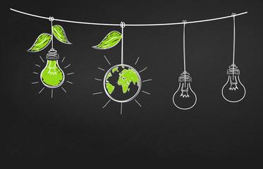 ampoule ardoise écologie illustration