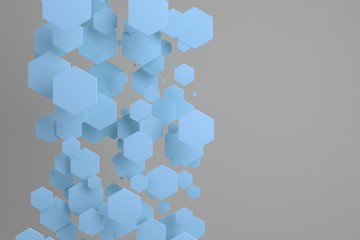 Blue hexagons of random size on white background