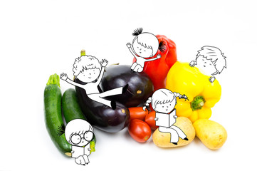 Happy fun kids and children playing on raw food vegetables isolated on white background with copyspace, aubergine, pepper, eggplant, tomato, potato and zucchini