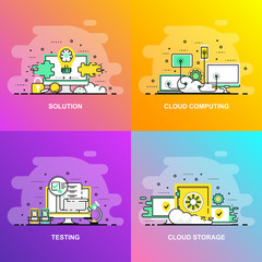 Modern smooth gradient flat line concept web banner of Testing, Solution, Cloud Computing and Cloud Storage. Conceptual vector illustration for web design, marketing, and graphic design.