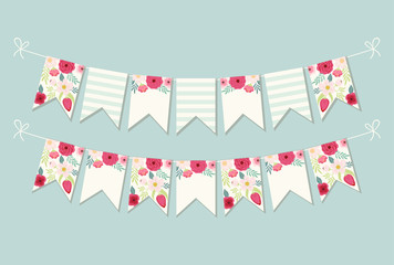 Cute vintage botanical textile bunting flags