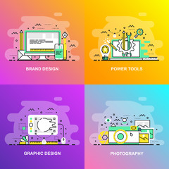 Modern smooth gradient flat line concept web banner of Photography, Graphic Design, Power Tools and Brand Design. Conceptual vector illustration for web design, marketing, and graphic design.