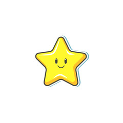 Vector cartoon yellow star with face smiling. Children shiny sticker, funny decoration for kids design. Isolated illustration on a white background