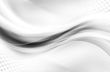 Fotobehang Fractal waves Gray White Bright Waves Design Abstract Wallpaper Halftone Raster Background