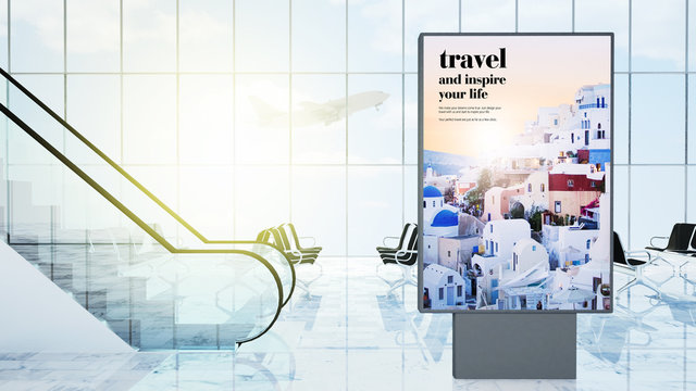 travel advertising on airport lobby