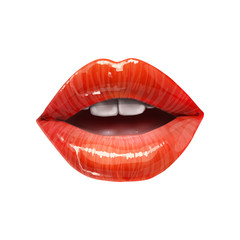 Red sexy juicy lips collection. Vector lipstick or lip gloss 3d realistic illustration.