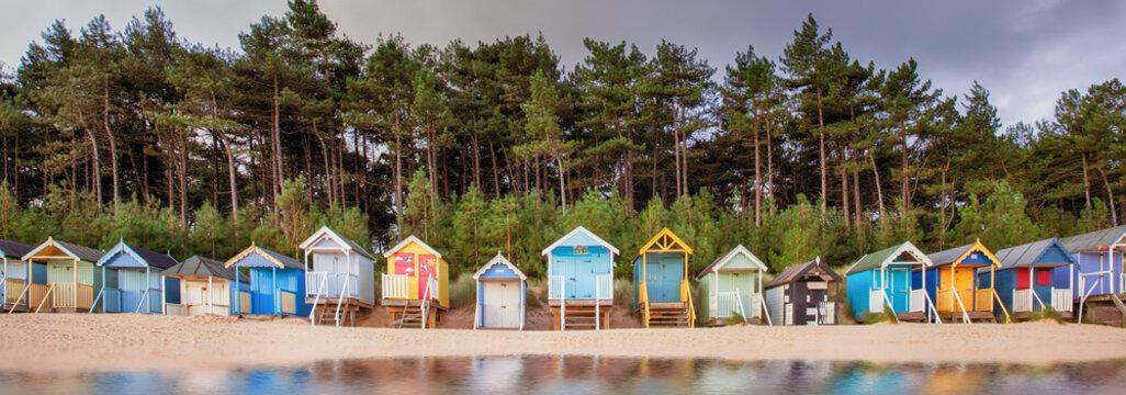 Beach hut row on the Norfolk coast