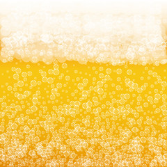 Beer background with realistic bubbles. Cool beverage for restaurant menu design, banners and flyers. Yellow square beer background with white frothy foam. Fresh cup of lager for brewery design.