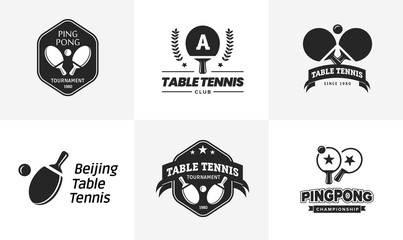 Set of vintage table tennis logos and badges. Collection of the ping pong championship labels.