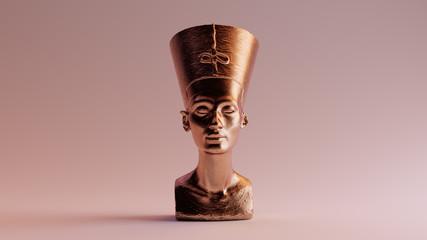 Polished Egyptian Brass Bust of Nefertiti 3d illustration