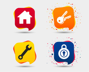 Home key icon. Wrench service tool symbol. Locker sign. Main page web navigation. Speech bubbles or chat symbols. Colored elements. Vector