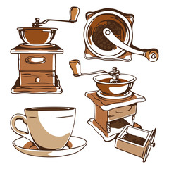 Set of digital drawings of a coffee grinder and a cup, design elements on a white background.