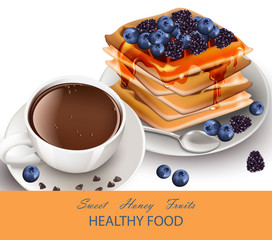 Cup of coffee and Waffles healthy breakfast Vector