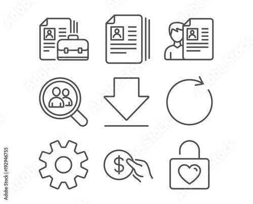 set of service synchronize and payment icons cv documents downloading and vacancy signs