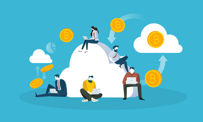 Cloud mining. Flat design style web banner of blockchain technology, bitcoin, altcoins, cryptocurrency mining, finance, digital money market, cryptocoin wallet, crypto exchange.