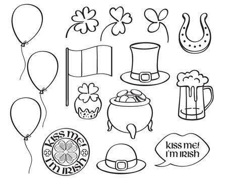 St patrick's day irish icons set.