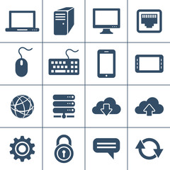 Personal computers and network devices icons. Vector icon