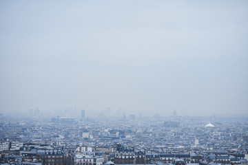 cityscape and skyline of Paris, France. Blue background for your design
