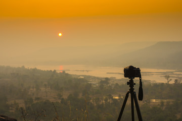 Mirrorless camera at Sunrise, Pha Taem National Park, Thailand