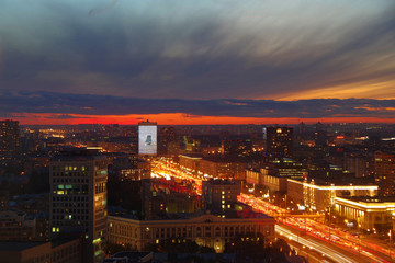 Moscow, Russia. Aerial view of the night city