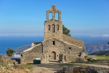 Wall Murals Monument Spain the church Santa Helena, overhanging the Mediterranean sea, Verdera mountain, Alt Emporda, El Port de la Selva, Catalonia, Costa Brava