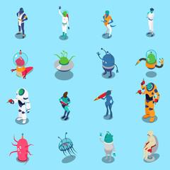 Aliens Isometric Icons Set