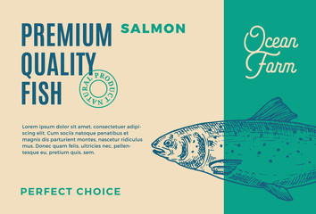 Premium Quality Salmon. Abstract Vector Fish Packaging Design or Label. Modern Typography and Hand Drawn Salmon Silhouette Background Layout