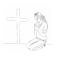 Teenage Woman or girl praying before cross on knees with hands folded. Black and white illustration line drawing