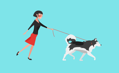 Vector Illustration: Young Woman Walk the Dog (Grey Malamute).