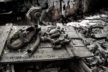 Cassa di maschere antigas a Chernobyl
