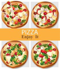 Pizza healthy food Vector realistic