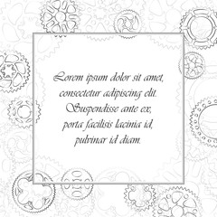 Decorative vintage frame with black outlined gears and cogs ornament. Empty space in center for text label or menu. Square vector elegant illustration with cogwheels border on white background.