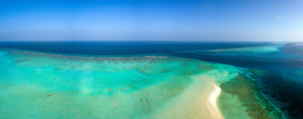 Maldives aerial view panorama landscape