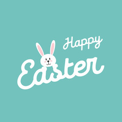 Happy Easter Lettering. Easter rabbit. Easter Bunny