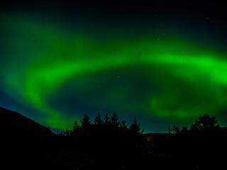 Green northern, Aurora Borealis, light on night sky