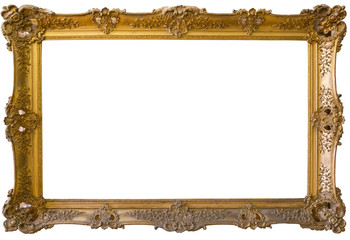 Gold picture frame. Isolated, white background
