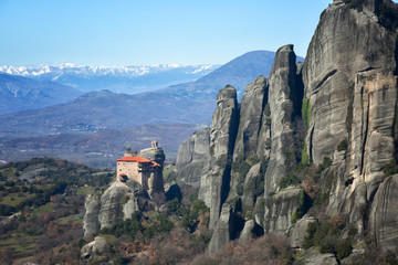 Monastery of Rousanou or St. Barbara Monastery at Meteora. Orthodox monasteries in Greece