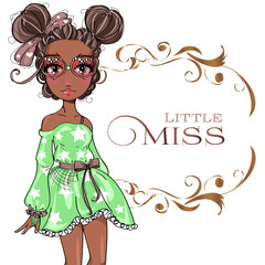 Brown skin tone cute fashion teen girl wearing green dress, little miss fashion girl with floral frame, cartoon character comics girl portrait, young woman vector illustration