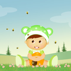 child with hive and bees