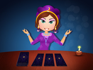 illustration of gypsy with tarot