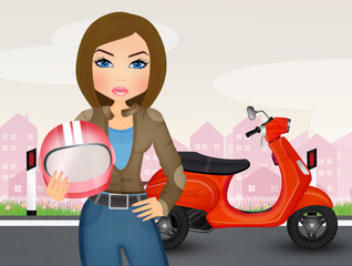 illustration of girl motorcyclist