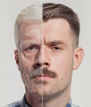 Collage of two portraits of the same old man and young man. Face lifting, aging and skincare concept. Conparison