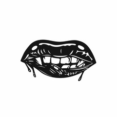 Vampire's mouth with fangs vector illustration.