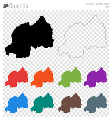 Rwanda high detailed map. Country silhouette icon. Isolated Rwanda black map outline. Vector illustration.