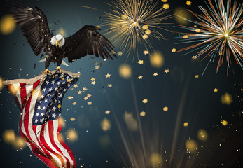 Fototapete - American Bald Eagle flying with Flag.