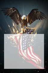 Wall Mural - American Bald Eagle flying with Flag.