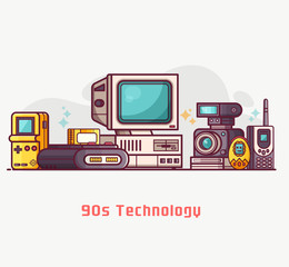 Vintage 90s technology banner. Nineties multimedia electronic entertainment gadgets with camera, old computer,game console and cellphone. Abstract retro tech devices concept background in flat design.