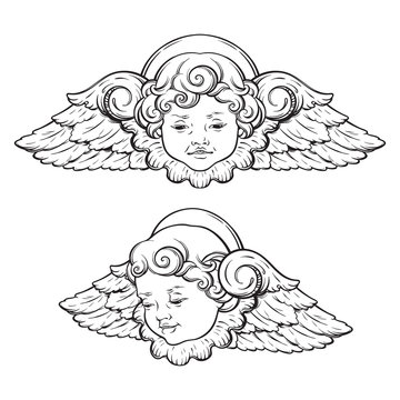 Cherub cute winged curly smiling baby boy angel set isolated over white background. Hand drawn design vector illustration