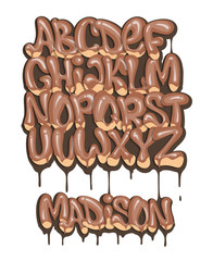 Chocolate alphabet set liquid font style.