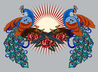 Peacocks and revolvers with roses, old school tattoo image